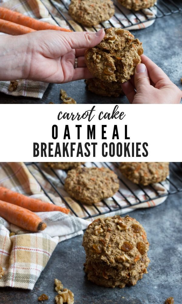 These Carrot Cake Breakfast Cookies are made with sweet carrots oats whole wheat flour maple syrup golden raisins and walnutsLove all the healthy fats whole grains...