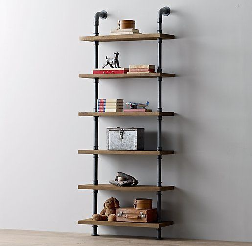 Pipe Wood Floor Shelf   Google Search