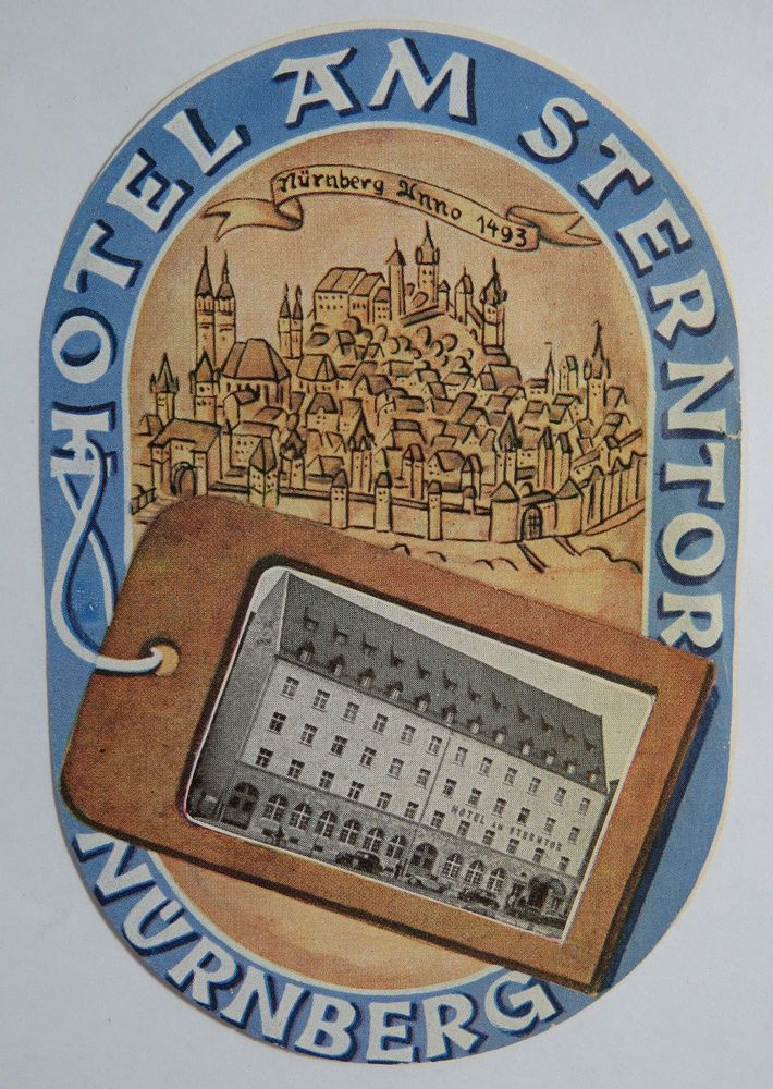 GRAND HOTEL NURNBERG GERMANY OLD LUGGAGE LABEL