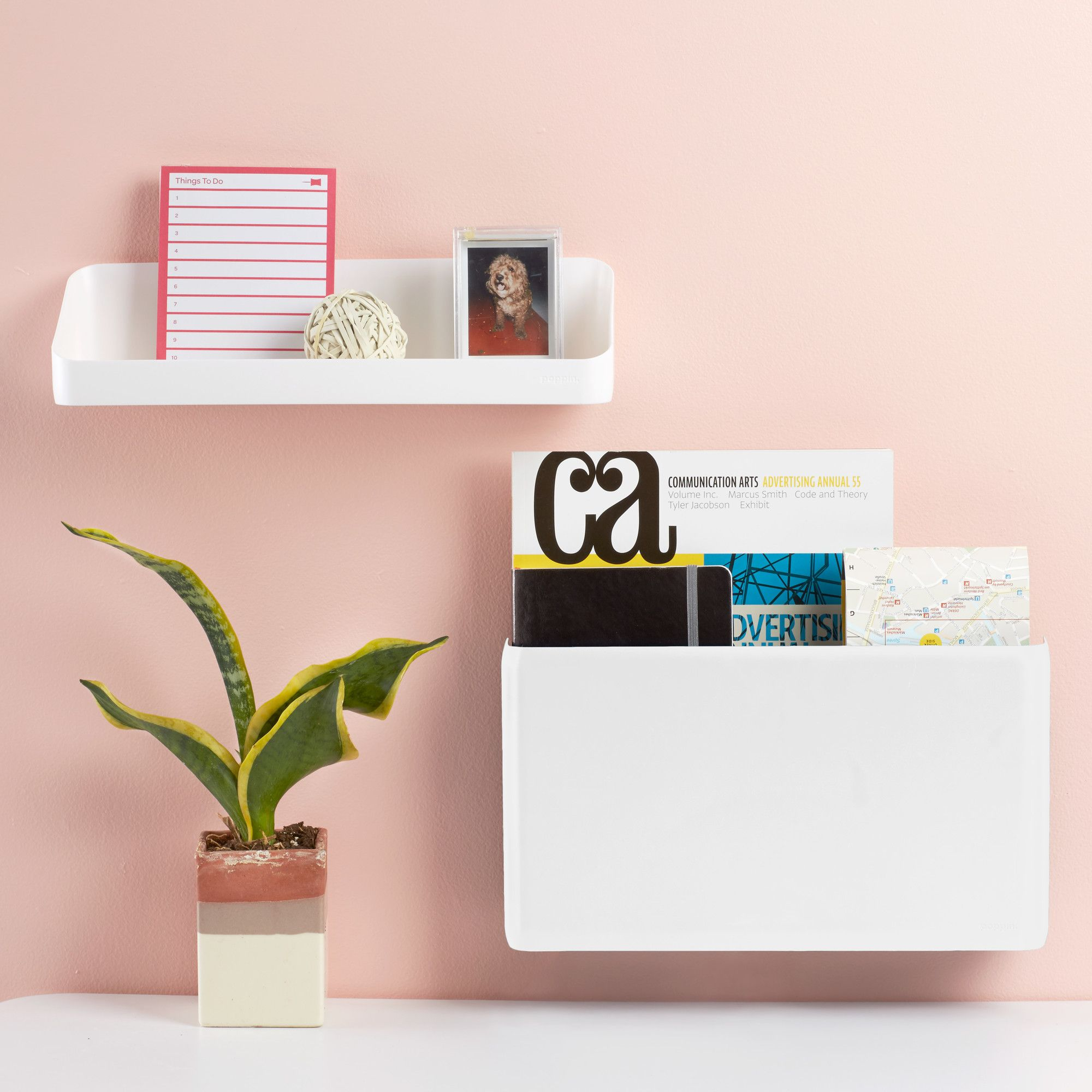 White Wall Pocket Wall Organization Wall file, Blush