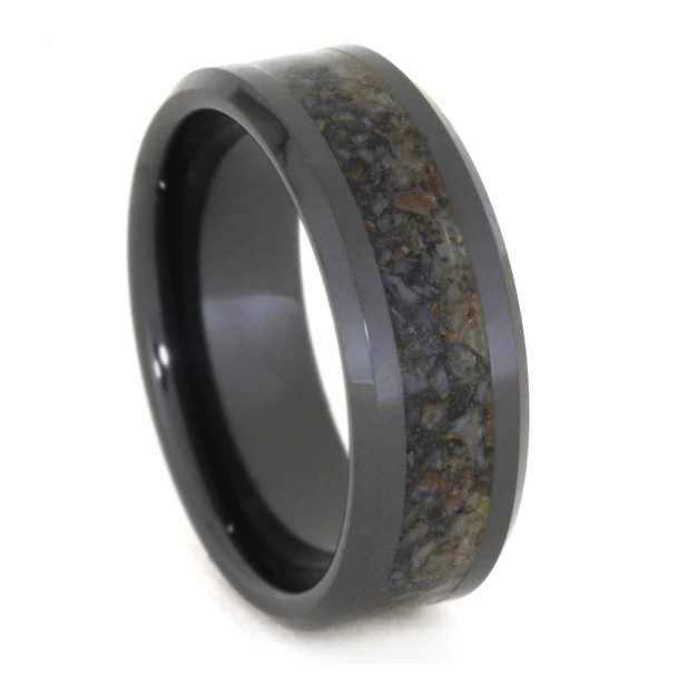 8 Mm Unique Mens Wedding Bands With Black Ceramic Dino Bone Bc331m Ceramic Wedding Bands Mens Wedding Bands Mens Wedding Bands Unique