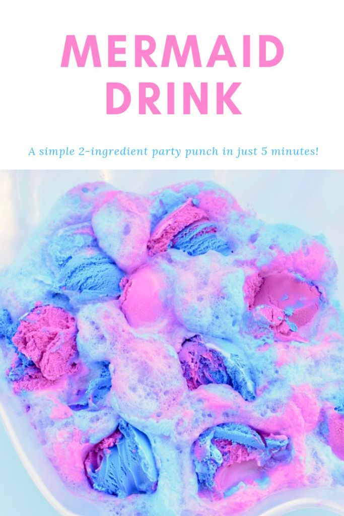 How to Make a Mermaid Drink In 2 Simple Steps - Mermaid birthday party food, Birthday party drinks, Mermaid drink, Birthday party punches, Mermaid theme birthday, Mermaid theme party - This mermaid drink is so pretty, tastes amazing, and has only 2 ingredients! Make this magical mermaid punch in under 5 minutes with this simple recipe