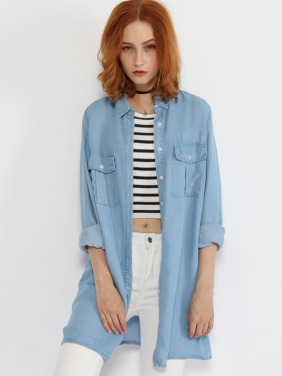 Fashionmia fashionmia turn down collar flap pockets single