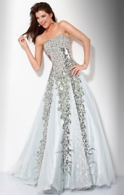 Jovani Silver Sequin Ball Gown Prom Dress 9347 - Senior ...