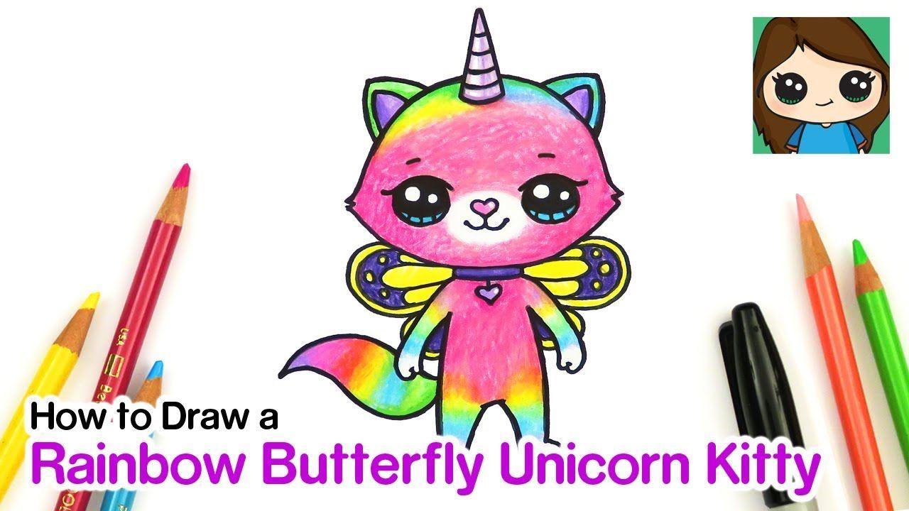 How to Draw Rainbow Butterfly Unicorn Kitty - YouTube ...