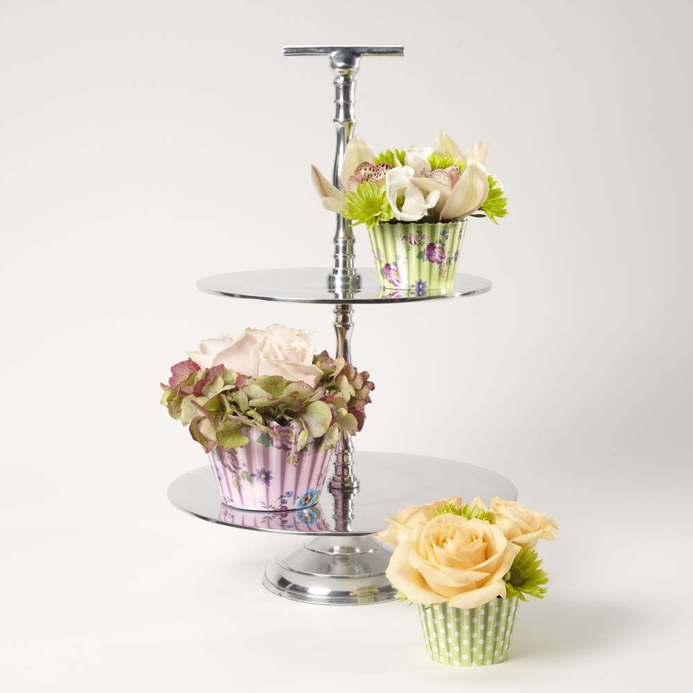 2 Tier Aluminium Cake Stand Oasis floral cupcakes