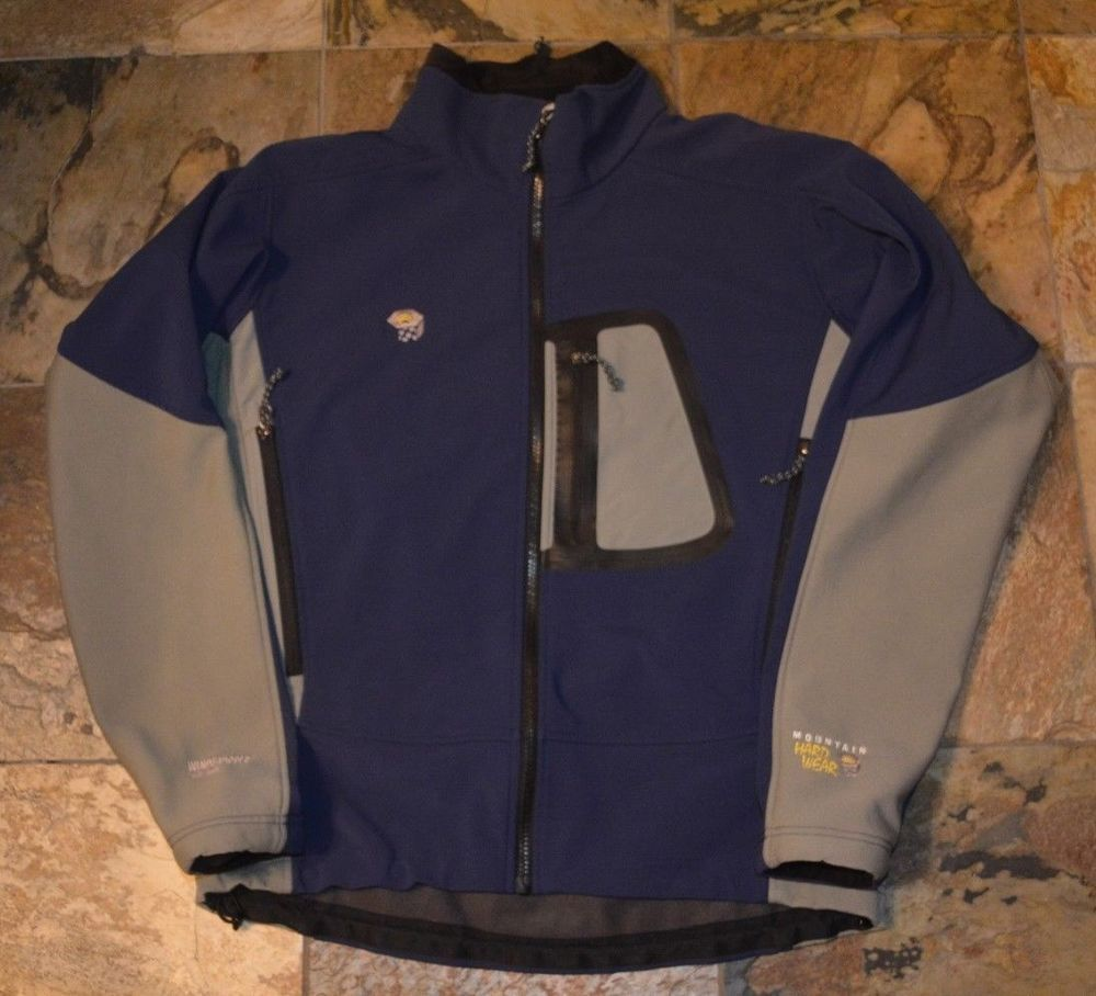 Mens' MOUNTAIN HARDWEAR Navy Blue Gray Windstopper Softshell