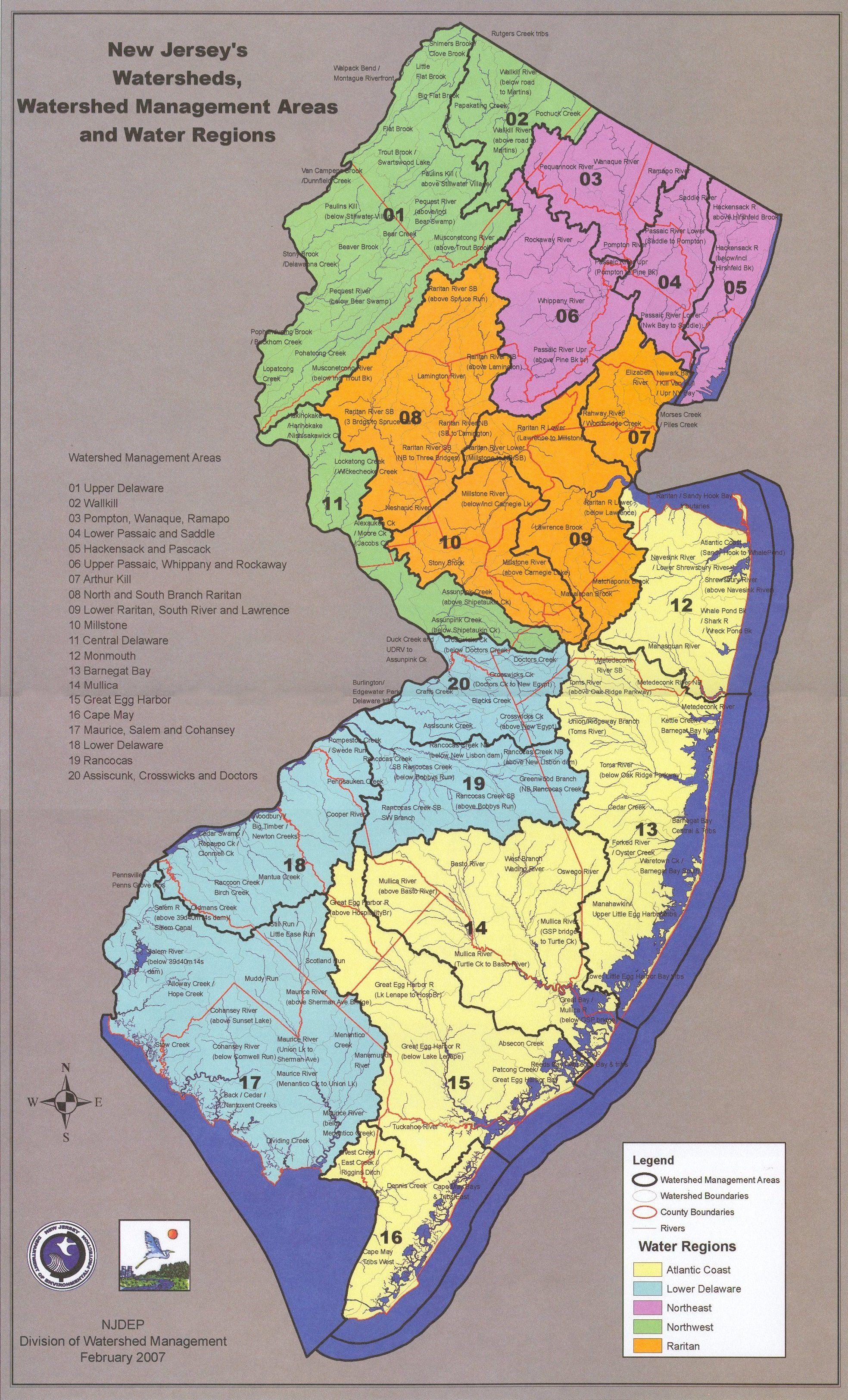 Njdep 2007 watersheds_wmas_water regions watersheds