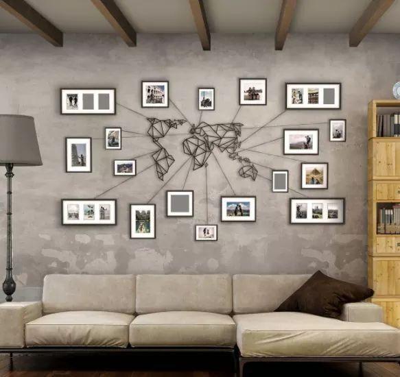 World Map Framed Wall Art.Metal Photo Frame World Map Design Pinterest Home Decor Home