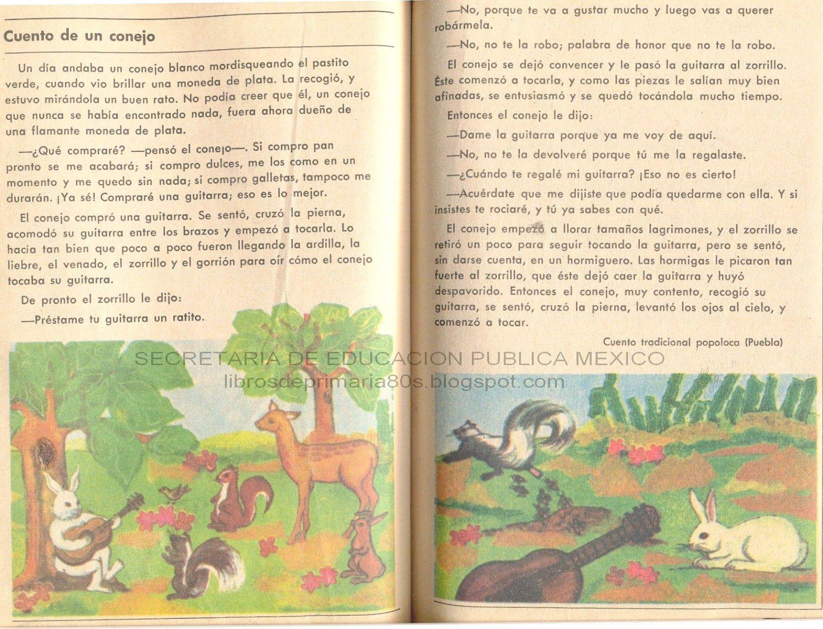 CUENTO MEXICANO. UN CUENTO DE UN CONEJO | Libros de primaria ...