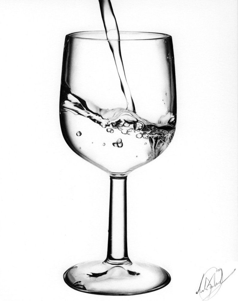 Wine glass with water Drawing by skrob | Bryllup 2014 | Pinterest ...