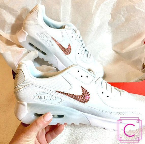 Women s Bling Nike Shoes Air Max 90 in White with Swarovski® Xirius  Crystals Authentic New in Box d2467c7e2a