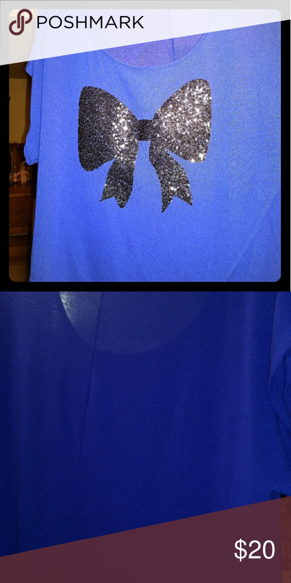 Top Short sleeve beautiful blue with black sequin bow Stranded Tops Blouses