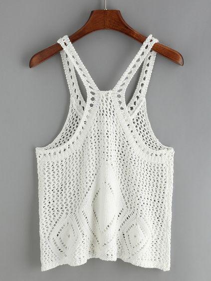 Crochet Hollow Out White Tank Top | CROCHET | Pinterest | Kleidung ...