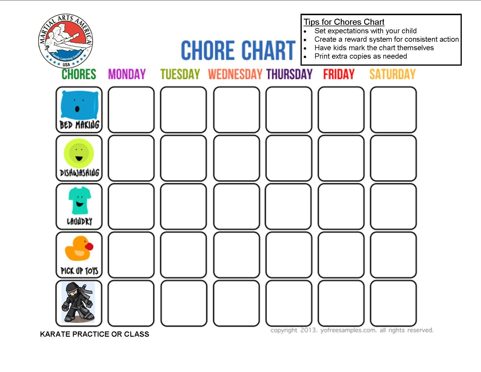 Image result for karate practice chart Free printable