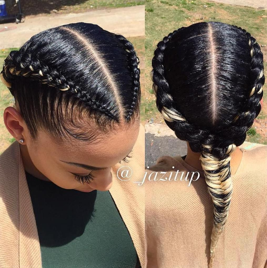 Two Braids Into One Black Hairstyle Natural Hair Styles Two Braid Hairstyles Braids For Black Hair