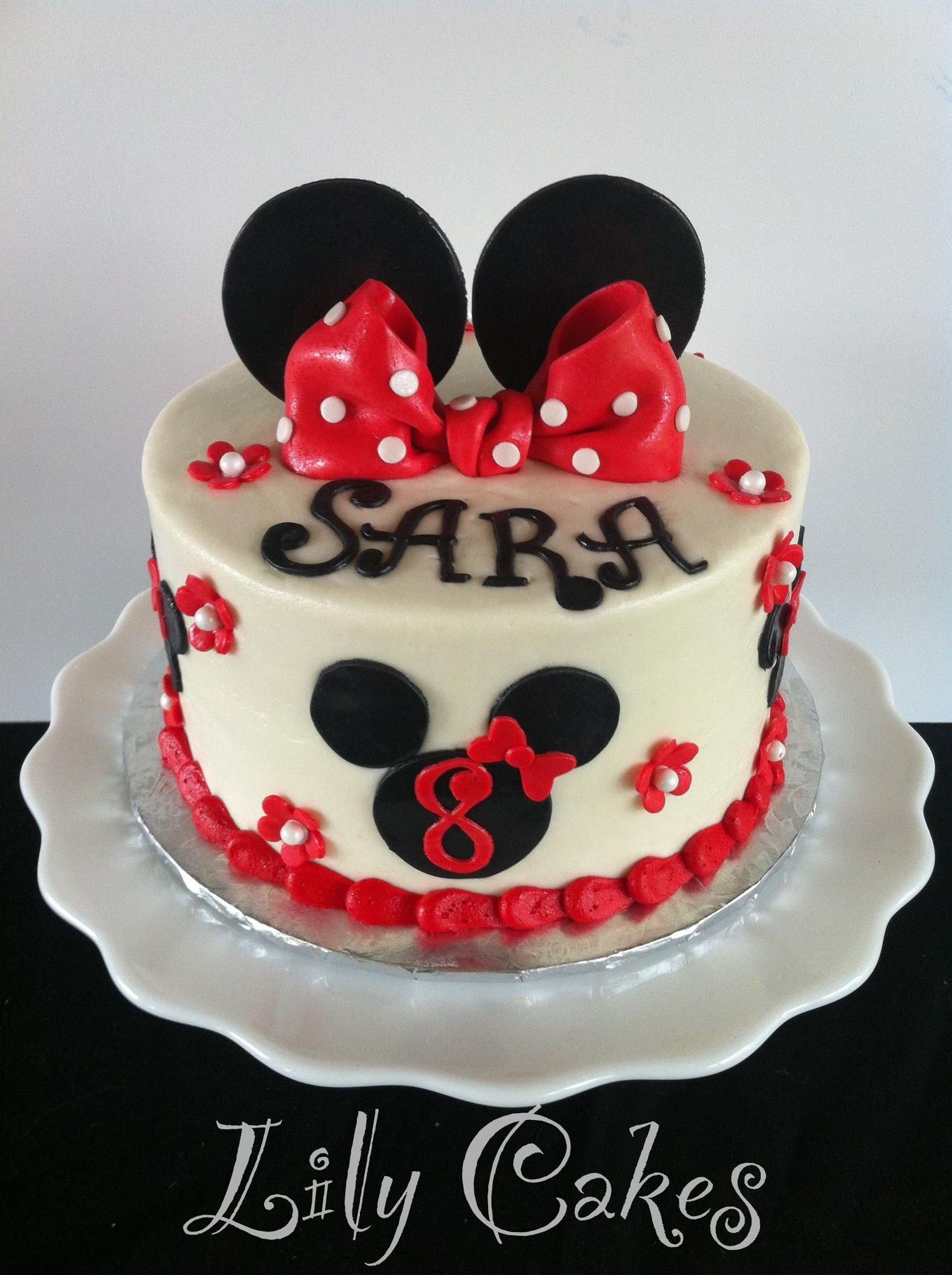 Black And Red Minnie Mouse Birthday Cake