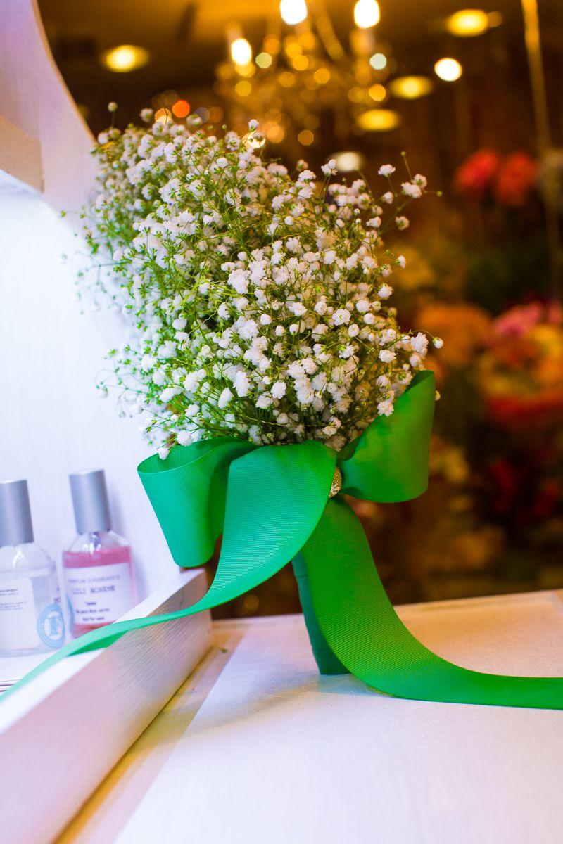 Gypsophilla cascade bouquet. White wedding