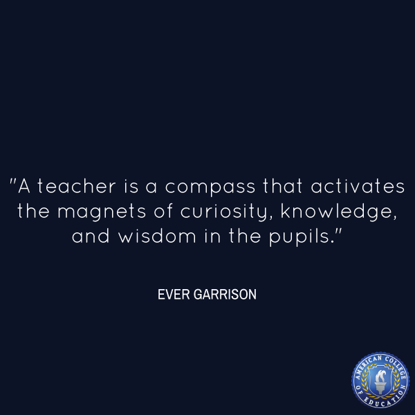 """Inspirational Quote, """"A Teacher Is A Compass That"""
