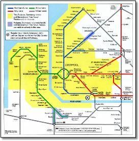 Mersey Travel Merseyrail rail train map various Pinterest