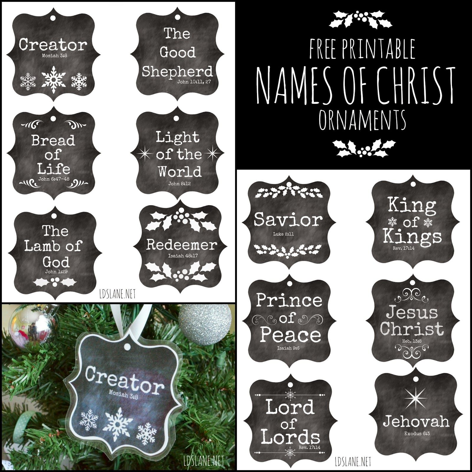 Lds Lane Names Of Christ Free Printable Ornaments Christian Christmas Christmas Christ Lds Christmas