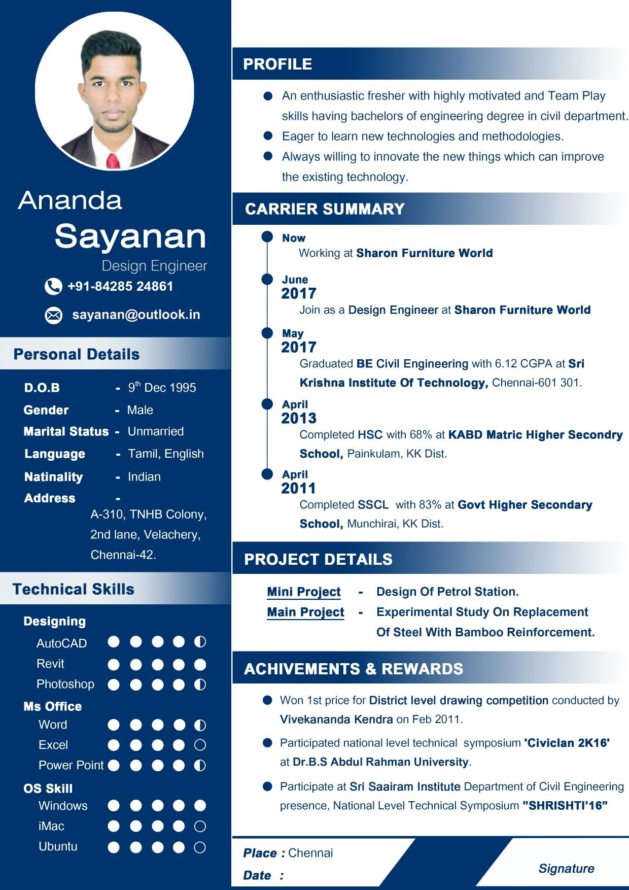 Professional CV for fresher Curriculum vitae resume Resume for Civil ...