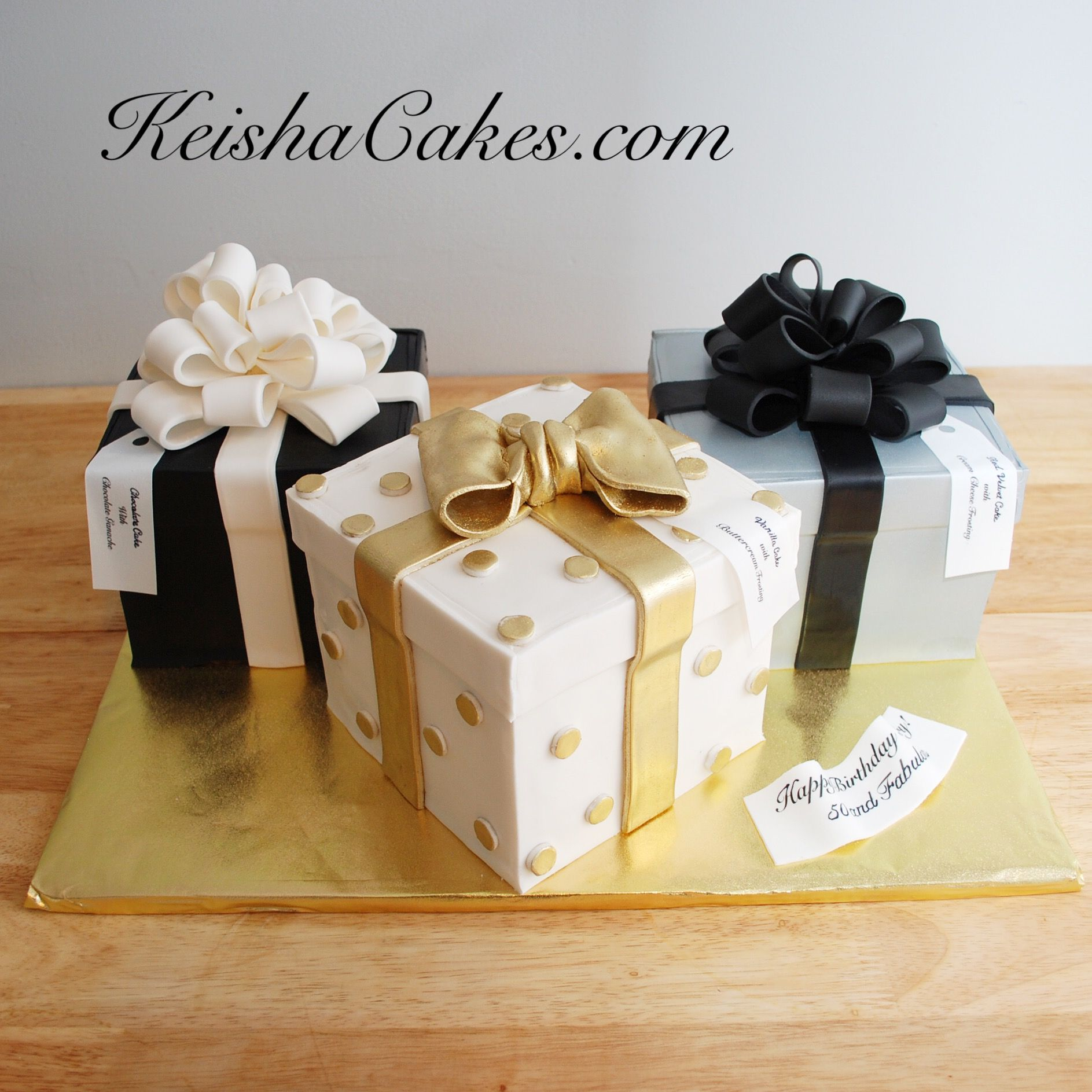 Gift boxes birthday cakes. Gold, black, white and silver