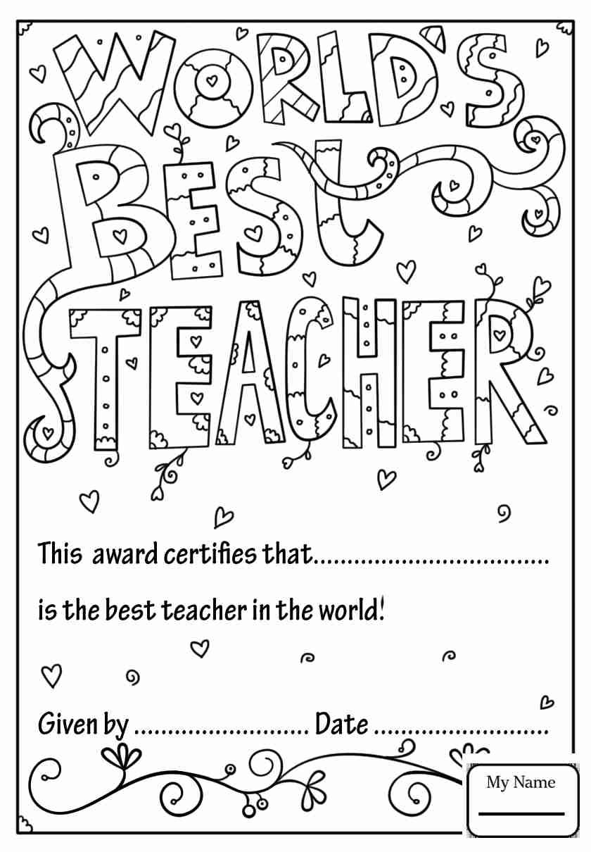 Coloring Pages For Kids Holidays Teacher Appreciation World S Best