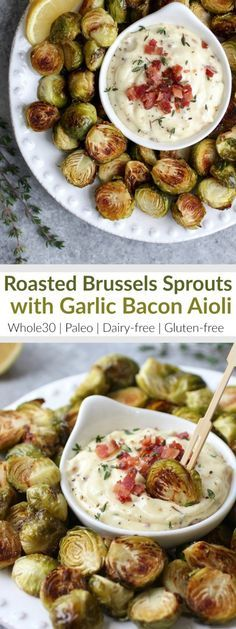 Add these healthy Roasted Brussels Sprouts with Garlic Bacon Aioli to your Holiday party menu or serve them as a delicious Whole30-friendly side-dish   Whole30   Paleo   Dairy-free   Gluten-free   therealfoodrds.com