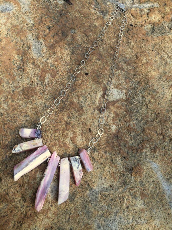 Peruvian Pink Opal necklace, Boho Pink Opal Necklace, Pink Peruvian Opal