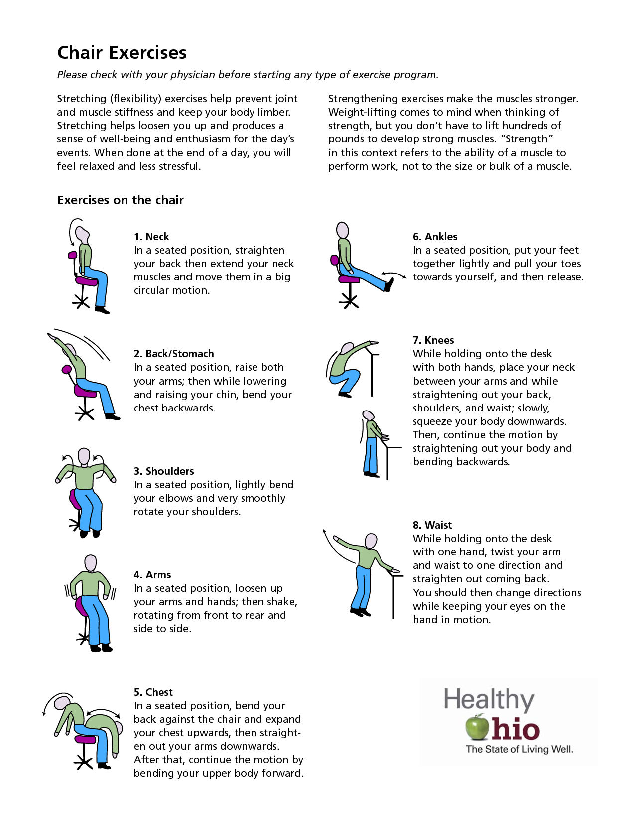 Printable chair yoga poses - Stomach Exercises Sitting At Desk Scope Of Work Template