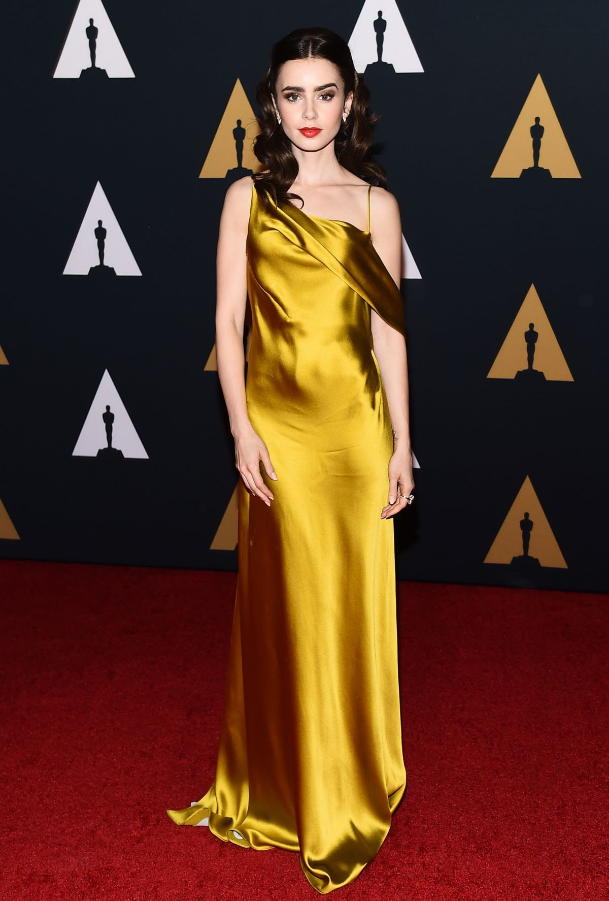 "a6036d78427 Actresses ""Lily Collins in Amanda Wakeley at the 2016 AMPAS Governors  Awards photography """