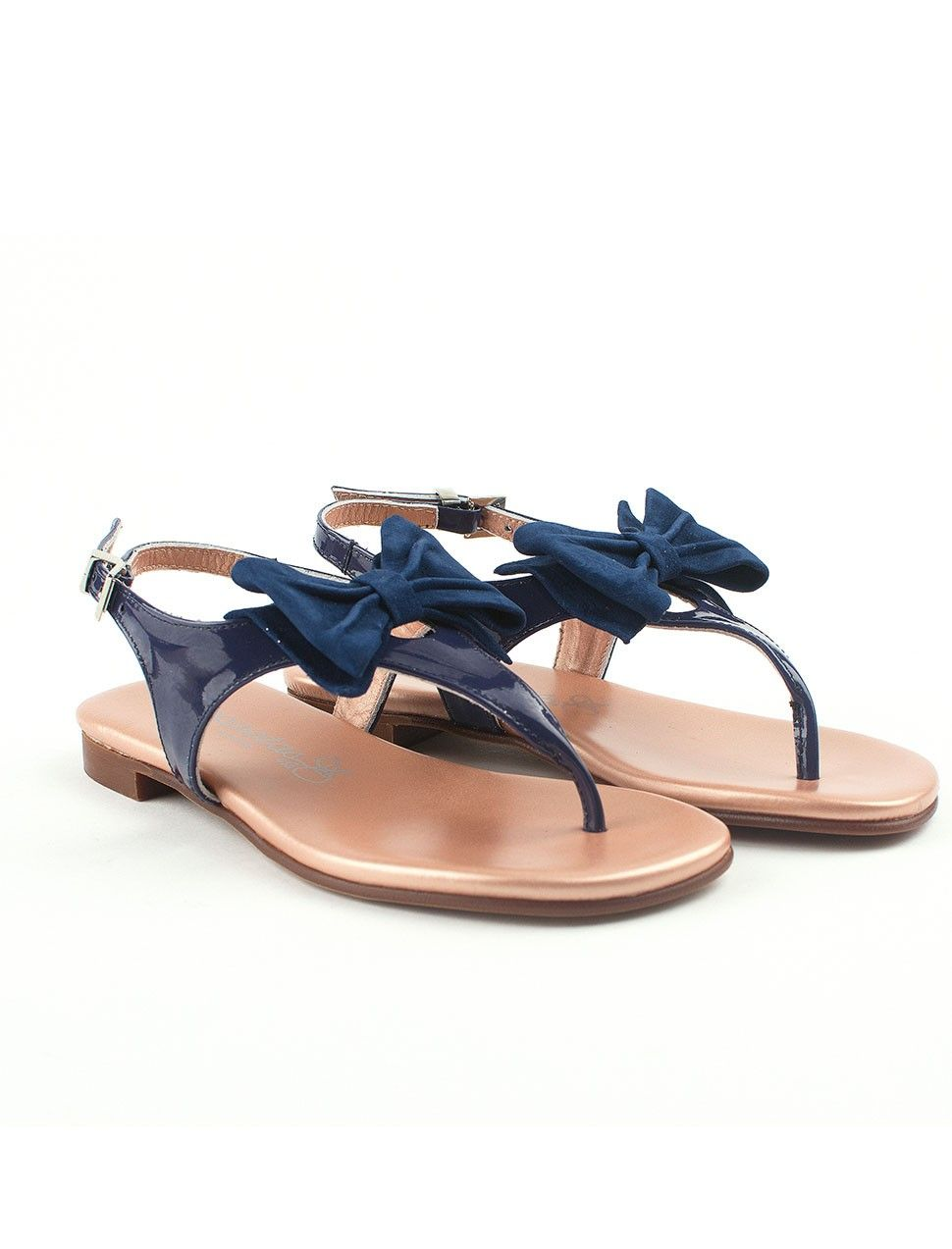 2548d12a1a9fa Dark blue girls sandals with bow from Eli   Eli - Spanish baby ...
