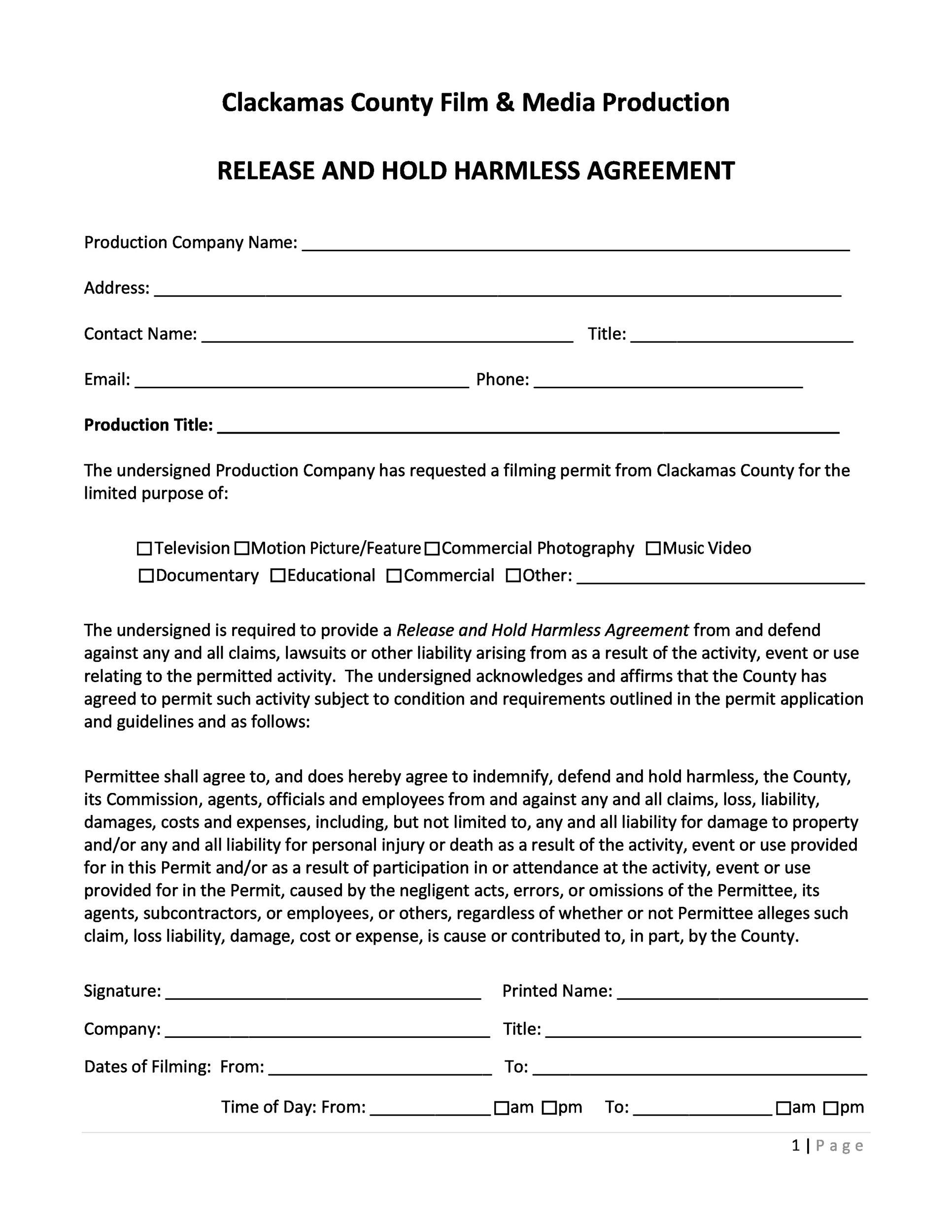 Hold Harmless Agreement Florida Template Picture In 2021 Hold On Agreement Templates Contractor hold harmless agreement template