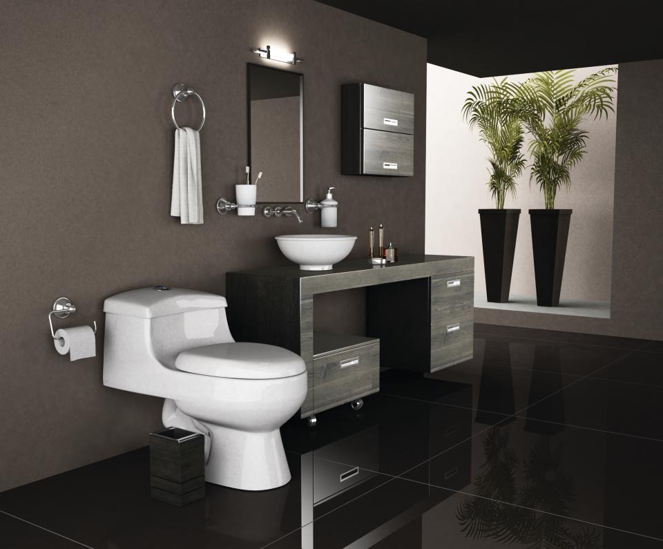 Excelente la elección del negro en  los baños! le da una terminación de simplicidad y lujo. pinned with @PinvolveLove