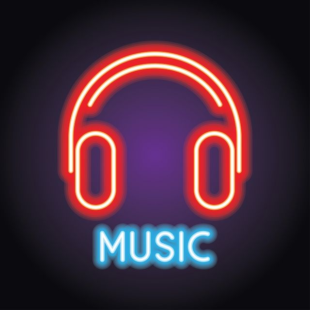 Music And Live Music Logo With Neon Light Effect Vector ...