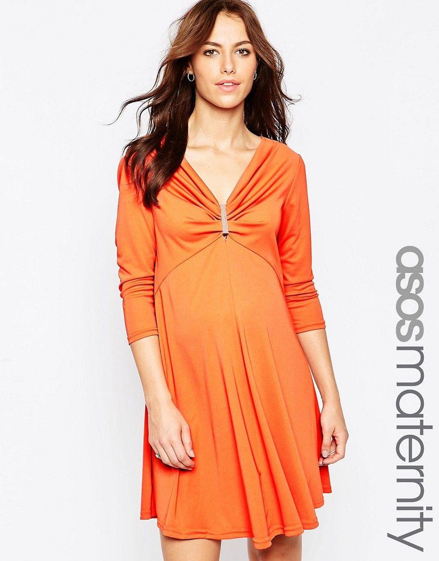 Buy it now asos maternity swing dress with gold bar detail asos maternity swing dress with gold bar detail orange maternity ombrellifo Choice Image