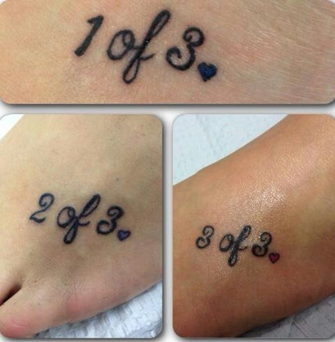 Sisterly love tattoo! 3 sisters, we chose to put it on our left foot ...