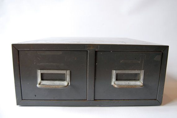 rustic vintage two 2 drawer metal card file cabinet by labelhere