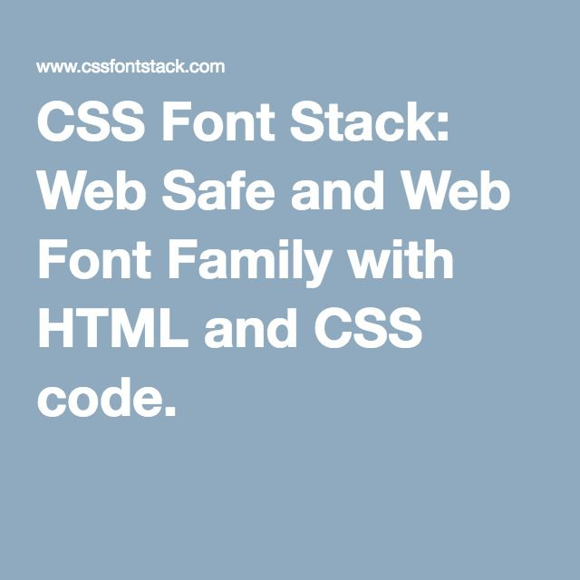 Css Font Stack Web Safe And Web Font Family With Html And Css