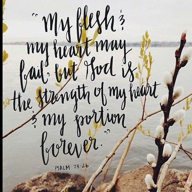 """""""My flesh and my heart may fail, but God is the strength of my heart and my portion forever."""" -Psalm 73:26 Original image via: [ @beloved_purple_sparrow ]"""