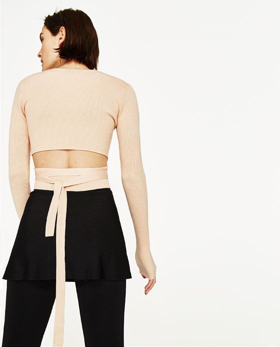 Image 5 of CROPPED SWEATER WITH RIBBON from Zara | shopping ...