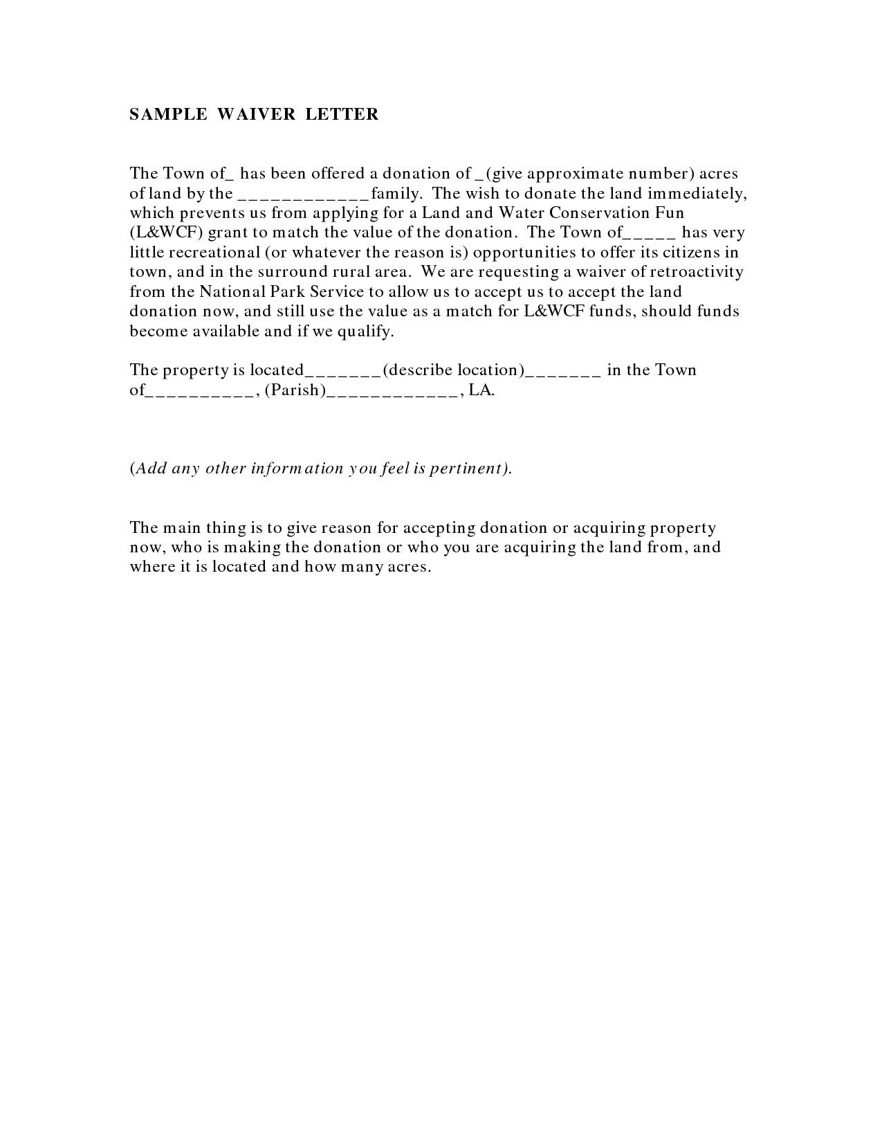 Doc Waiver Letter Template Waiver Form Template partial lien – Waiver Letter Template