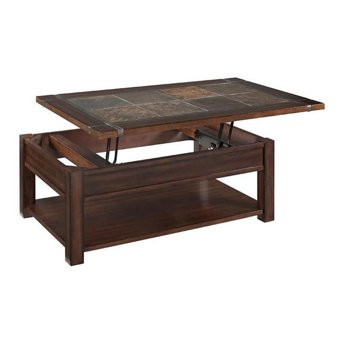 Roanoke Rectangular Lift Top Coffee Table In Cherry Nebraska - Pop up cocktail table