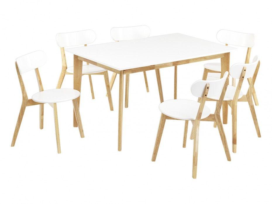 Ensemble table CARINE + 6 Chaises COLETTE - MDF blanc prix promo Table à  manger Vente Unique 429.99 € TTC prix constaté    1 032 € ca0c0116bab0