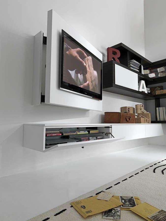 Moderne Tv Wandhalterung Schwenkbar Metall Lackiertes Holz