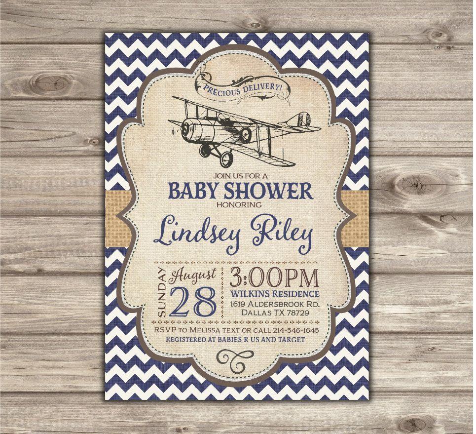 Airplane Baby Shower Invitations Vintage Airplane Navy Chevron Boy ...