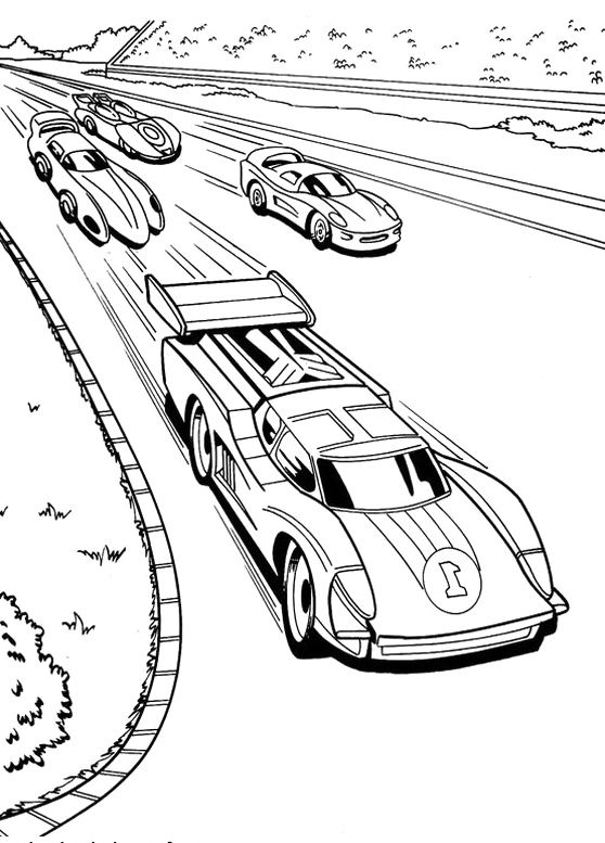 race car racing hot wheels coloring pages