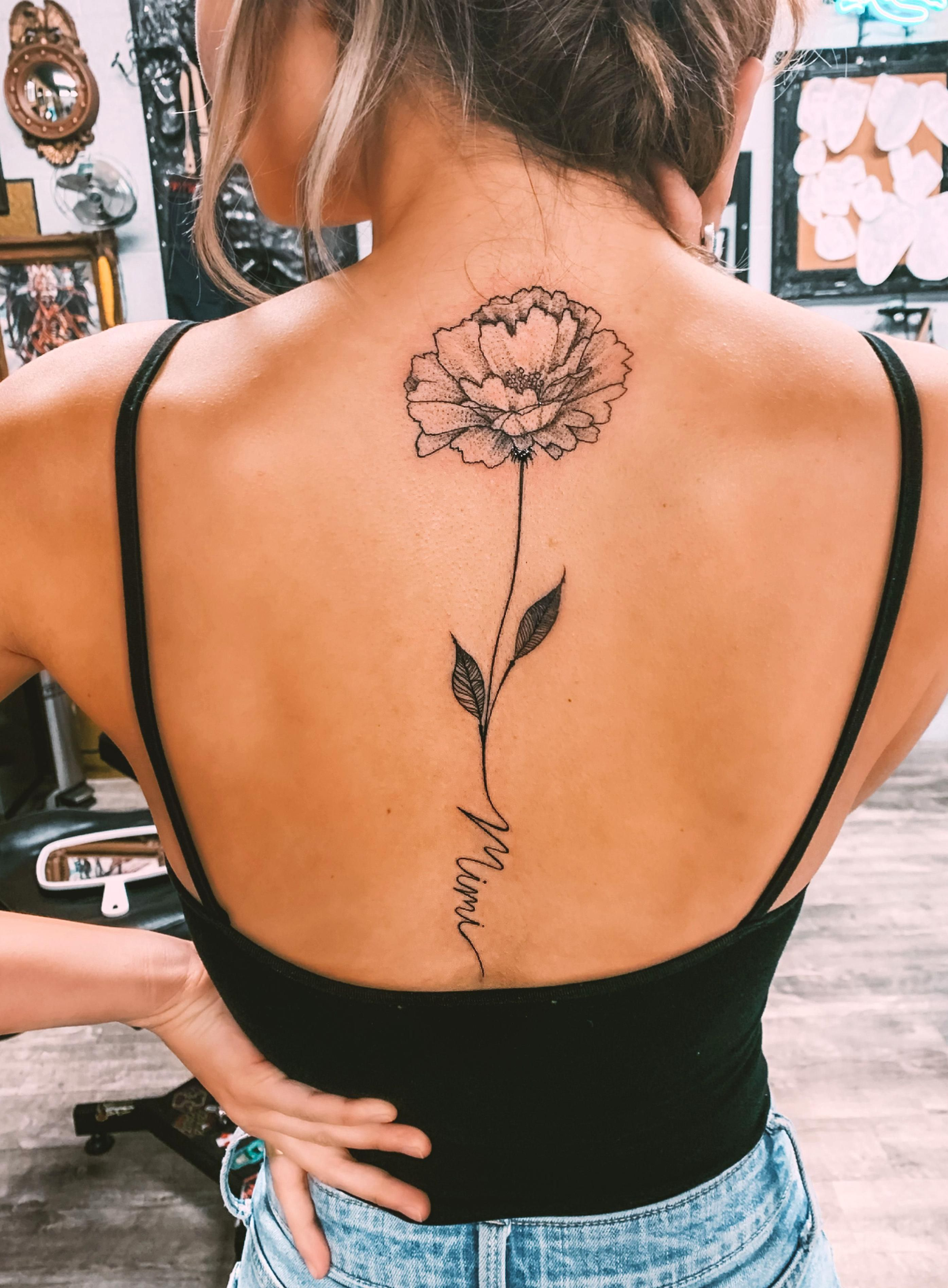Birth Flower October Name Tattoo Women Girl Thin Line Back