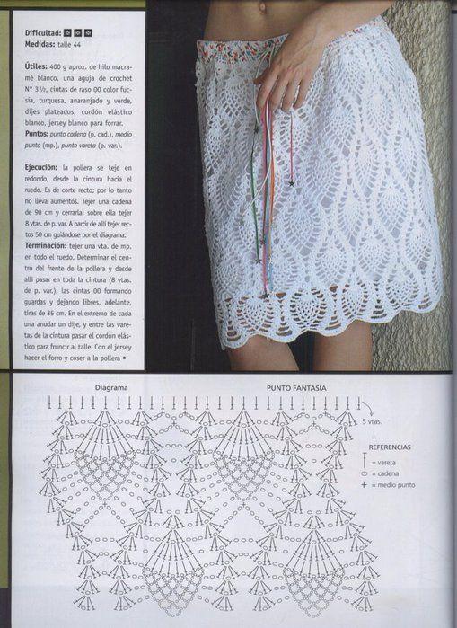 Simple white skirt with diagram | polleras | Pinterest | Croché ...
